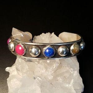Mexico Sterling Gemstone Mens Cuff Bracelet